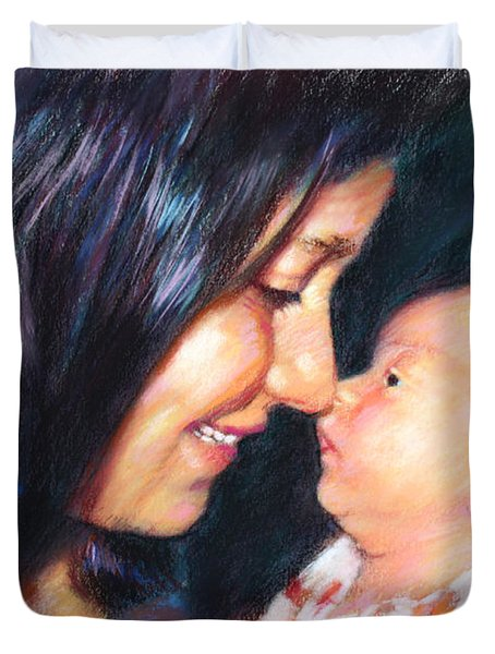 Duvet Cover featuring the drawing The Joy Of A Young Mother by Viola El