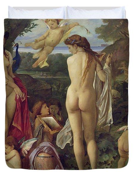 The Judgement Of Paris, 1870 Oil On Canvas Duvet Cover