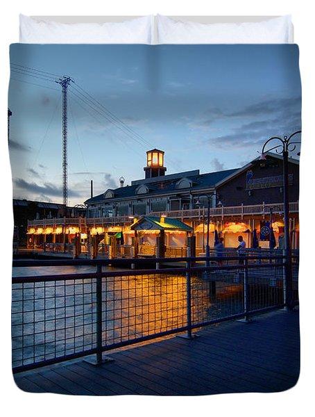 The Kemah Boardwalk Duvet Cover by Linda Unger