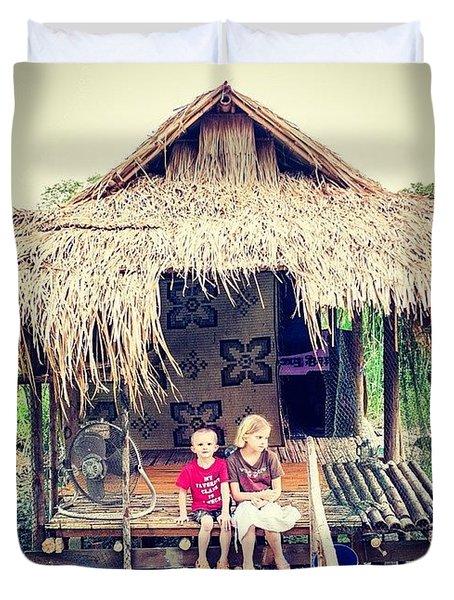 The Kids In Thailand Duvet Cover