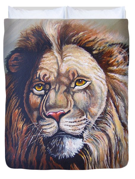 Duvet Cover featuring the painting The King by Anthony Mwangi