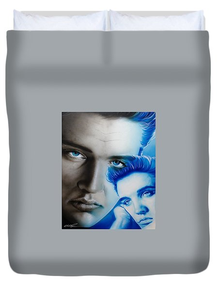 Elvis Presley - ' The King ' Duvet Cover by Christian Chapman Art