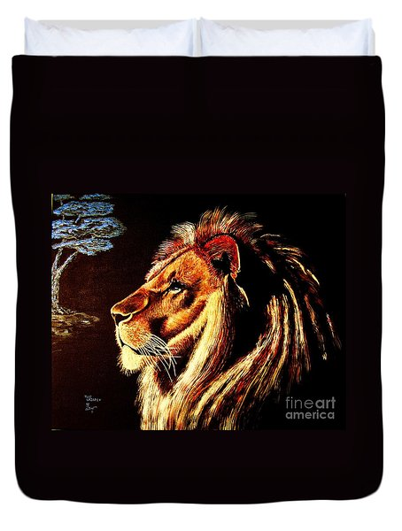 Duvet Cover featuring the painting the King by Viktor Lazarev