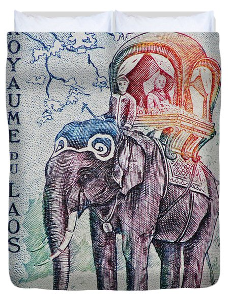 Duvet Cover featuring the photograph The King's Elephant Vintage Postage Stamp Print by Andy Prendy