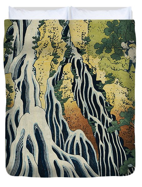 The Kirifuri Waterfall Duvet Cover by Hokusai