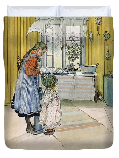 The Kitchen From A Home Series Duvet Cover by Carl Larsson
