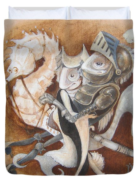 Duvet Cover featuring the painting The Knight Tale by Marina Gnetetsky