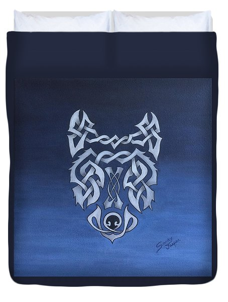 The Knotty Wolf Duvet Cover by Sandy Jasper