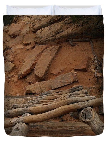 The Ladder Down Into Sapupu Canyon Duvet Cover by Jeff Swan