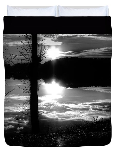 The Lake - Black And White Duvet Cover