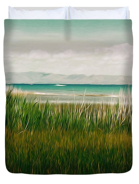 The Lake - Digital Oil Duvet Cover by Mary Machare