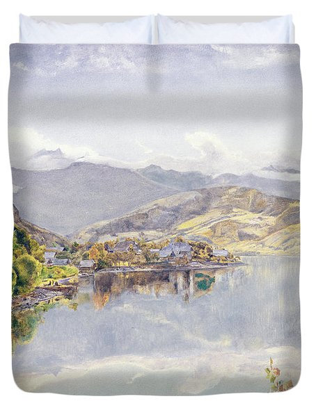 The Lake Of Lucerne, Mount Pilatus Duvet Cover by John William Inchbold