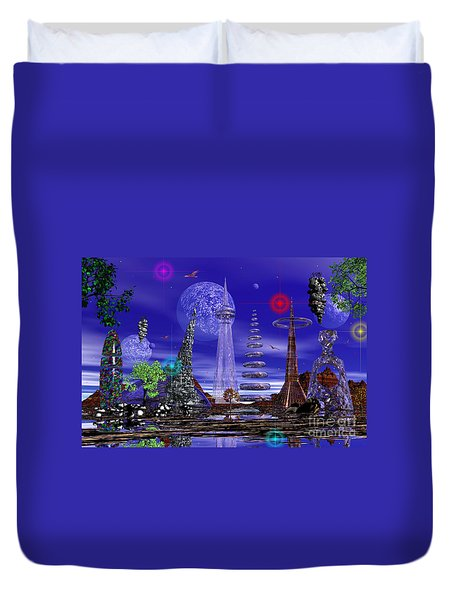 The Lakes Of Zorg Duvet Cover by Mark Blauhoefer
