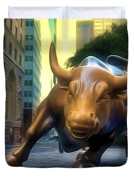 The Landmark Charging Bull In Lower Manhattan 2 Duvet Cover