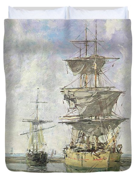 The Large Ship Duvet Cover by Eugene Louis Boudin