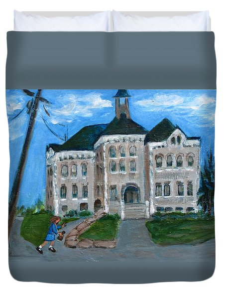The Last Bell At West Hill School Duvet Cover by Betty Pieper