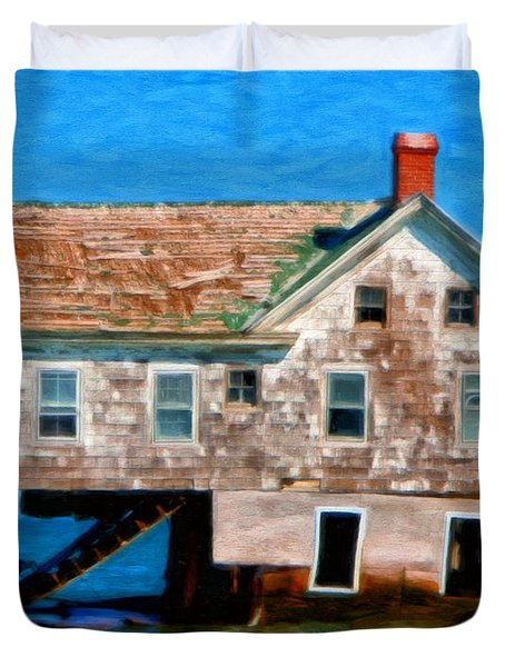 The Last House On Holland Island Duvet Cover by Michael Pickett