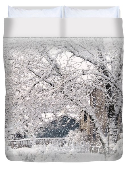 Duvet Cover featuring the photograph The Last Snow Storm by Kay Novy