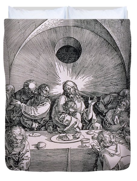 The Last Supper From The 'great Passion' Series Duvet Cover by Albrecht Duerer