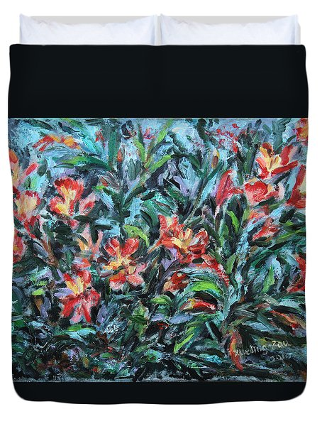 Duvet Cover featuring the painting The Late Bloomers by Xueling Zou