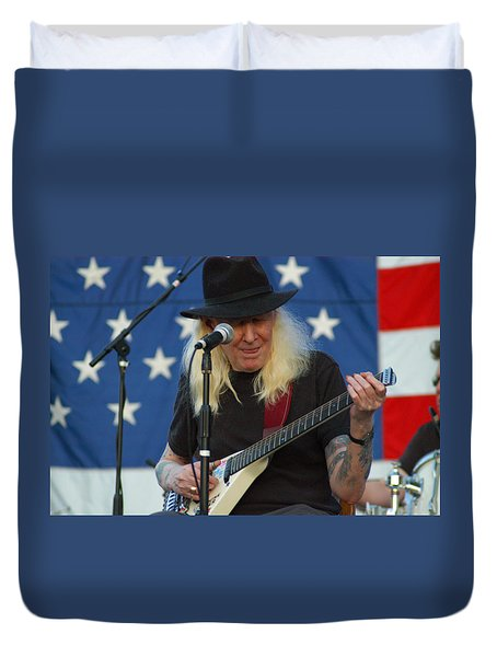 The Late Great Johnny Winter Duvet Cover by Mike Martin