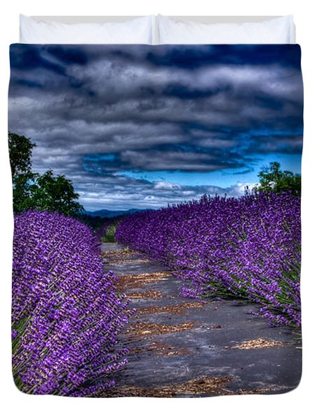 Duvet Cover featuring the photograph The Lavender Field by Thom Zehrfeld