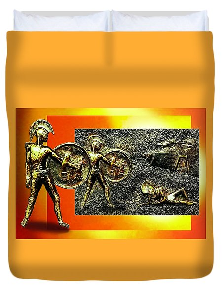 Duvet Cover featuring the relief The Legends Of Troy. . .  by Hartmut Jager
