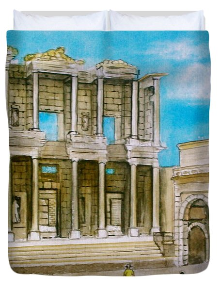 The Library At Ephesus Turkey Duvet Cover