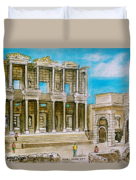 The Library At Ephesus Turkey Duvet Cover by Frank Hunter