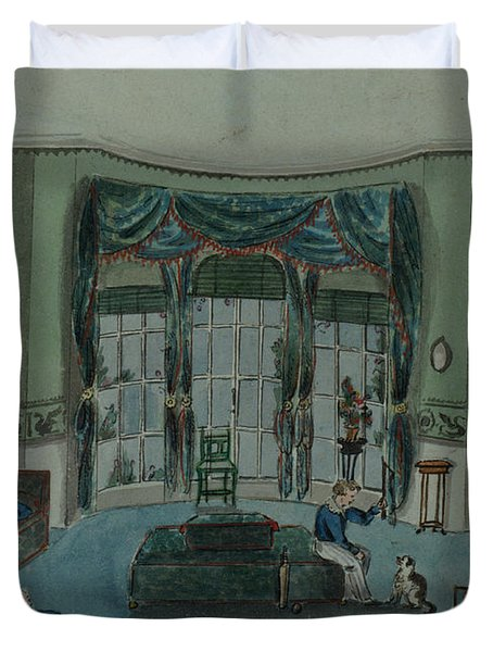 The Library, C.1820, Battersea Rise Duvet Cover by English School