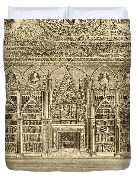 The Library, Engraved By Godfrey Duvet Cover by English School