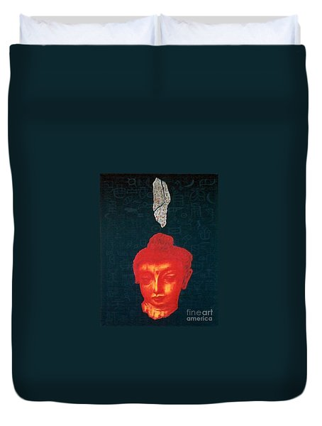 Duvet Cover featuring the painting The Light Of Face_ Sold by Fei A