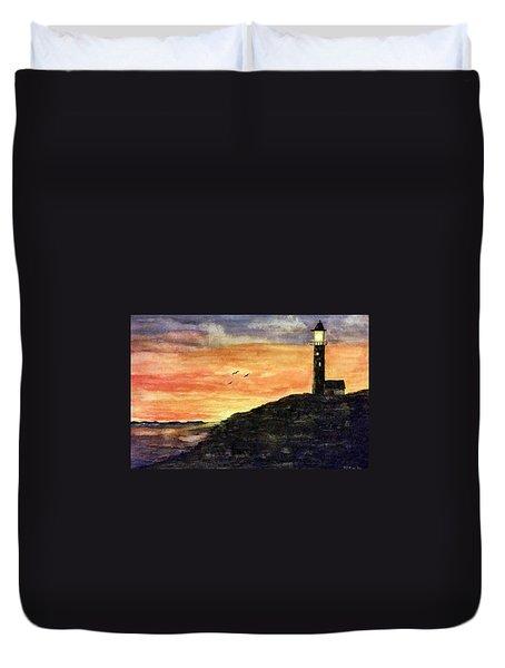 The Lighthouse At Dusk Duvet Cover