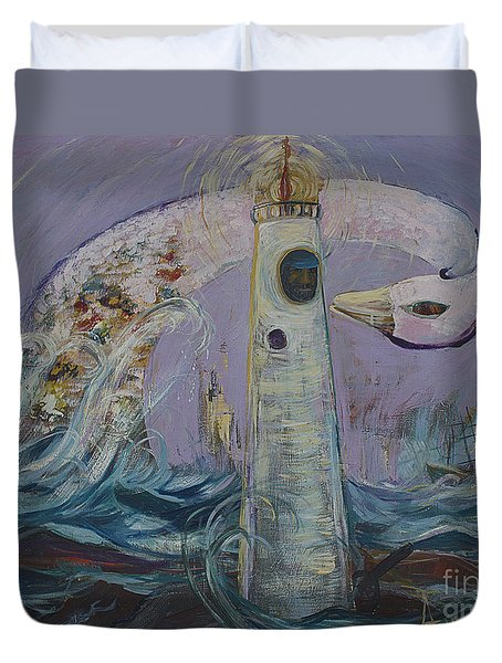 The Lighthouse Keeper And The Swan #1  Duvet Cover by Avonelle Kelsey