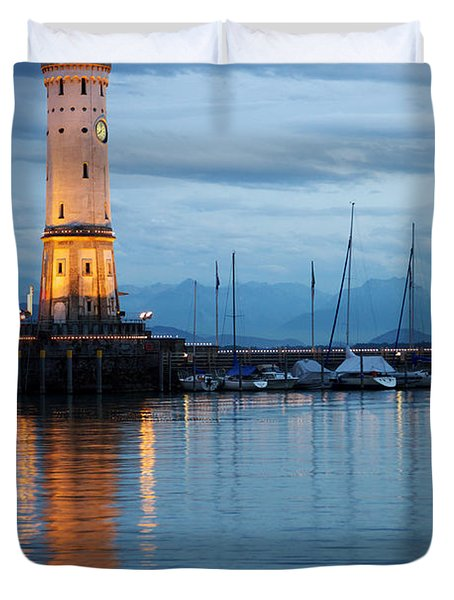 The Lighthouse Of Lindau By Night Duvet Cover by Nick  Biemans