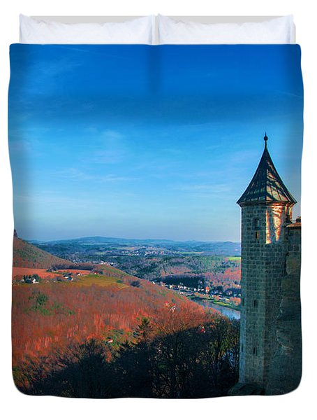 The Lilienstein Behind The Fortress Koenigstein Duvet Cover
