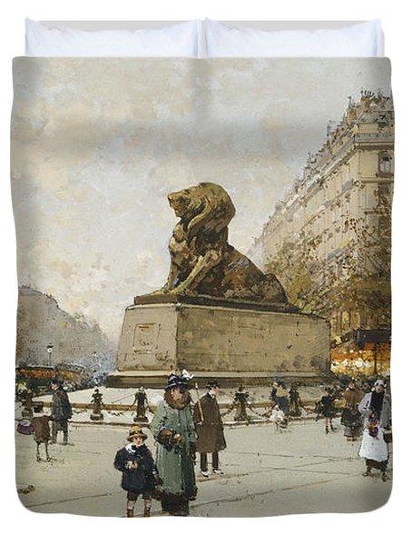 The Lion Of Belfort Le Lion De Belfort Duvet Cover by Eugene Galien-Laloue
