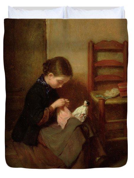 The Little Dressmaker Duvet Cover by Pierre Edouard Frere