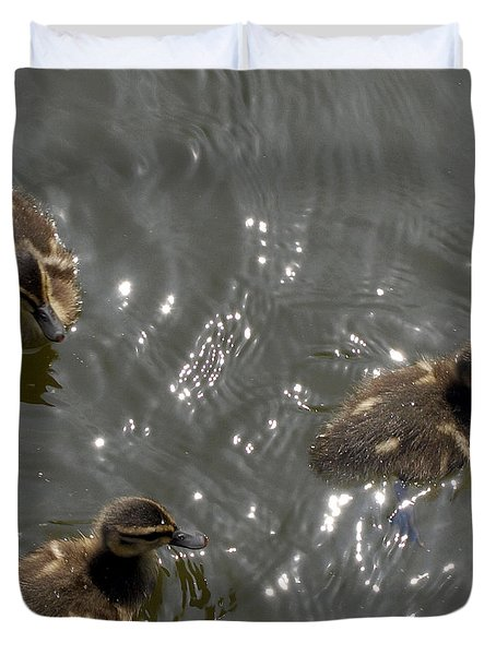 The Little Ducklings Out For A Swim Duvet Cover