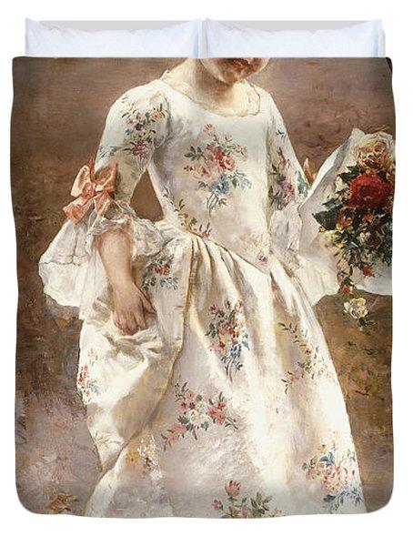 The Little Flower Girl  Duvet Cover by Albert Raudnitz