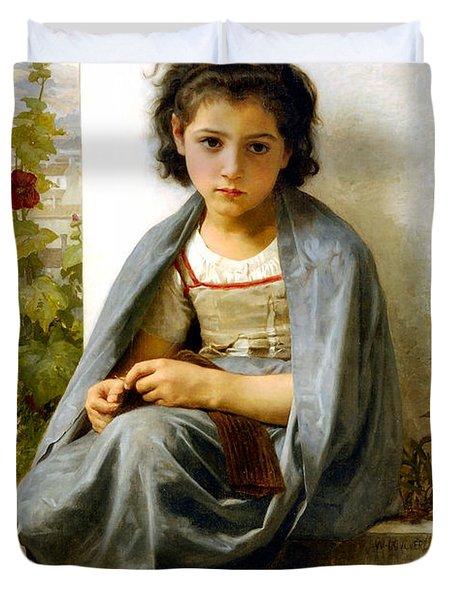 The Little Knitter Duvet Cover by William Bouguereau