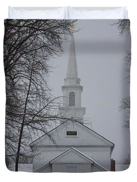 Duvet Cover featuring the photograph The Little White Church by Dora Sofia Caputo Photographic Art and Design