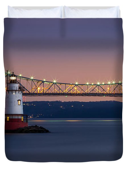 The Little White Lighthouse Duvet Cover by Mihai Andritoiu