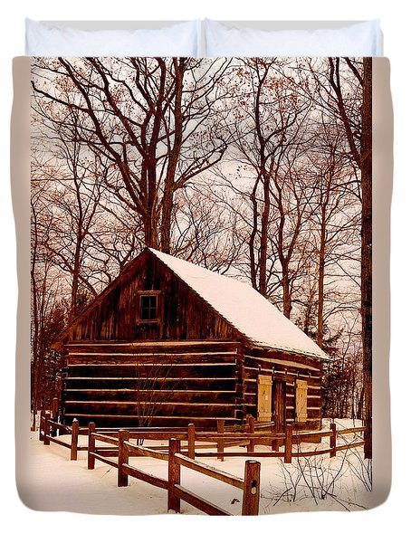 The Log Cabin At Old Mission Point Duvet Cover