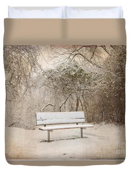 The Lonely Bench Duvet Cover by Betty LaRue