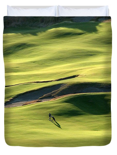 The Long Green Walk - Chambers Bay Golf Course Duvet Cover by Chris Anderson