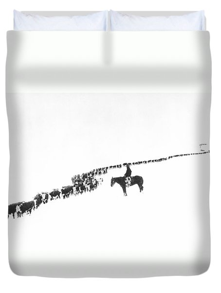 The Long Long Line Duvet Cover by Underwood Archives  Charles Belden