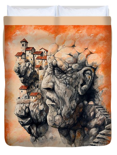 The Lost City - The Sentinel Duvet Cover by Emerico Imre Toth