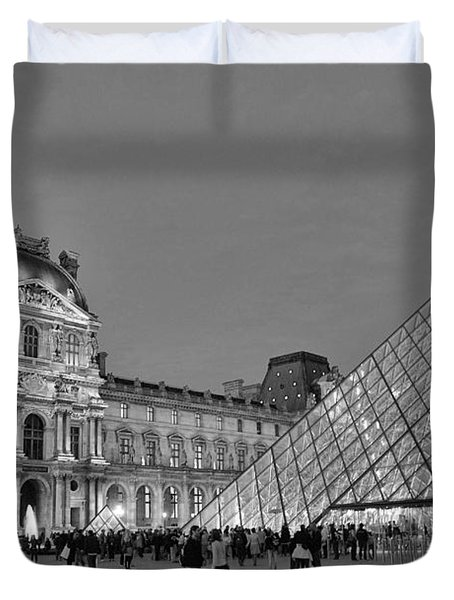 The Louvre Black And White Duvet Cover by Allen Beatty