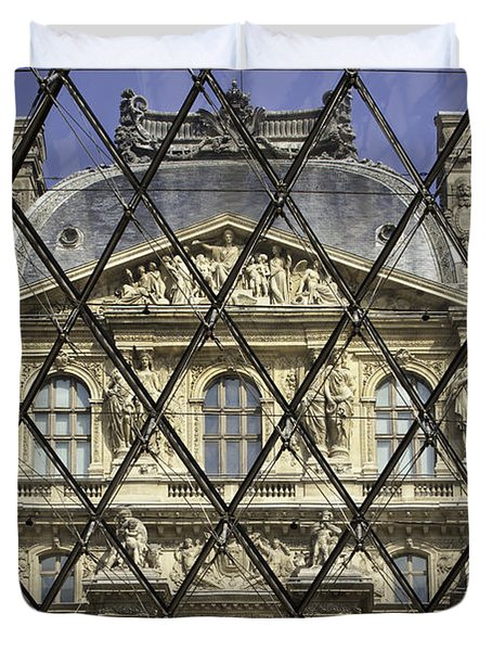 The Louvre From The Pyramid Duvet Cover